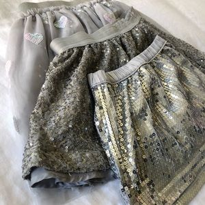 Lot of 3 silver girls skirts sizes 4-5